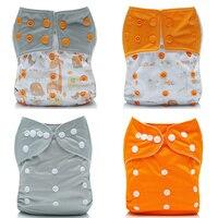 [Mumsbest] 4 шт многоразовые пеленки детские подгузники с микрофиброй моющиеся вставки водонепроницаемый серый оранжевый памперсы Подгузники К...