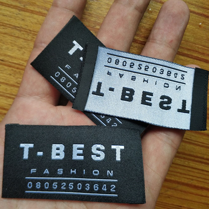 2000PCS Custom your logo End fold black damask polyester cloth woven label