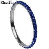 Chanfar Kleurrijke 3 Rijen Crystal Rhinestone Verharde Roestvrij Staal Bangle Voor Vrouwen Gift Wedd Mode-sieraden