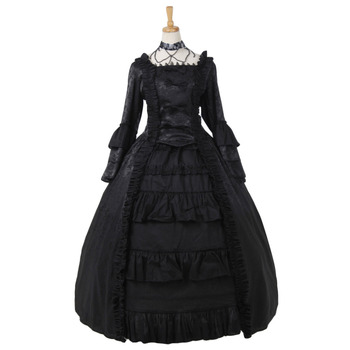 Black Lolita Dress Medieval Victorian Renaissance Gothic Dress Vampire Hooded Robe Women Lady Lolita Dress Custom Made