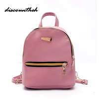 Women Backpack New Fashion Casual PU Leather Ladies Backpack For Teenage Girls School Bag Solid Mini