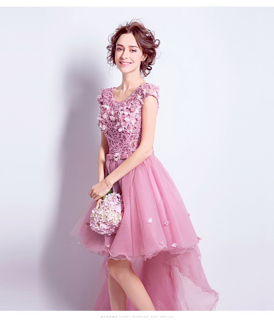 Clearance Ssyfashion Sweet Rose Pink Lace Flower Cocktail Dress