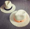 Summer Straw Fedora Hat For Women Wide Brim Beach Sun Hat Free Shipping ELDS-005