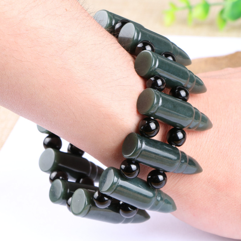 Natural Dark Green Stone Bracelet Chinese Hand-Carved Bullet Head Hand String Bracelet Bangles Men's Fashion Jades Jewelry