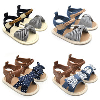 Baby Girl Sandals Summer Shoes Cotton Canvas Dotted Bow Sandals Newborn Baby Shoes