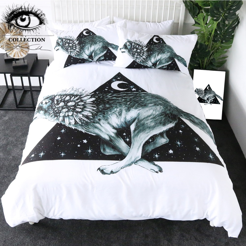 Wolf Running by Pixie Cold Art Bedding Set Moon Star Bed Cover Set Animal White Bedlinen 3pcs Rock Crystal Bedspread Drop Ship