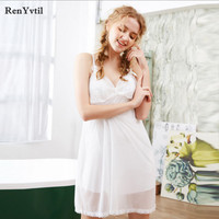 RenYvtil 2017 Summer Women Sexy Lace V neck White Spaghetti Strap Nightgowns Ladies Knitted Cotton Lining Sleepwear Leisure Wear