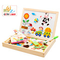 Wooden happy farm land, magnetic puzzle toys,Children's intelligence development education toys