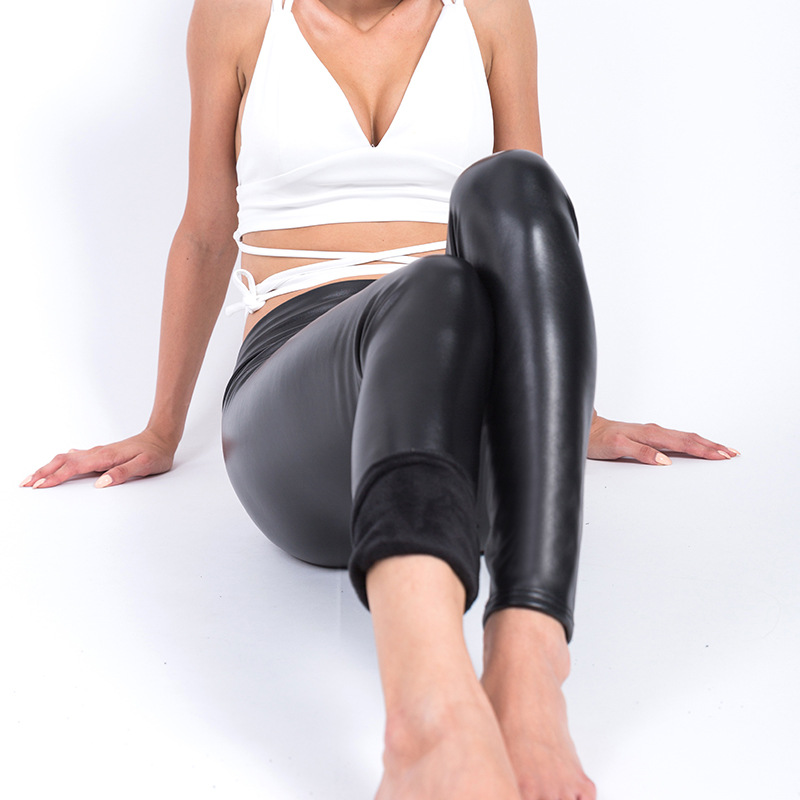 Sexy Black PU Leather Pants Winter Warm Slim Trousers Fashion High Waist Warm Large Size Plus L-XXXL 4XL Velvet Women Leggings
