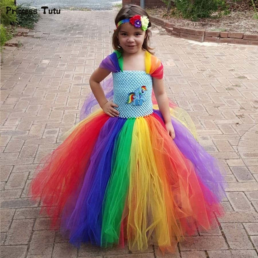 High Quality Children Girls Rainbow Tutu Dress Princess Pony Birthday Party Tutu Dresses For Girls Kids Halloween Costume 1-14Y