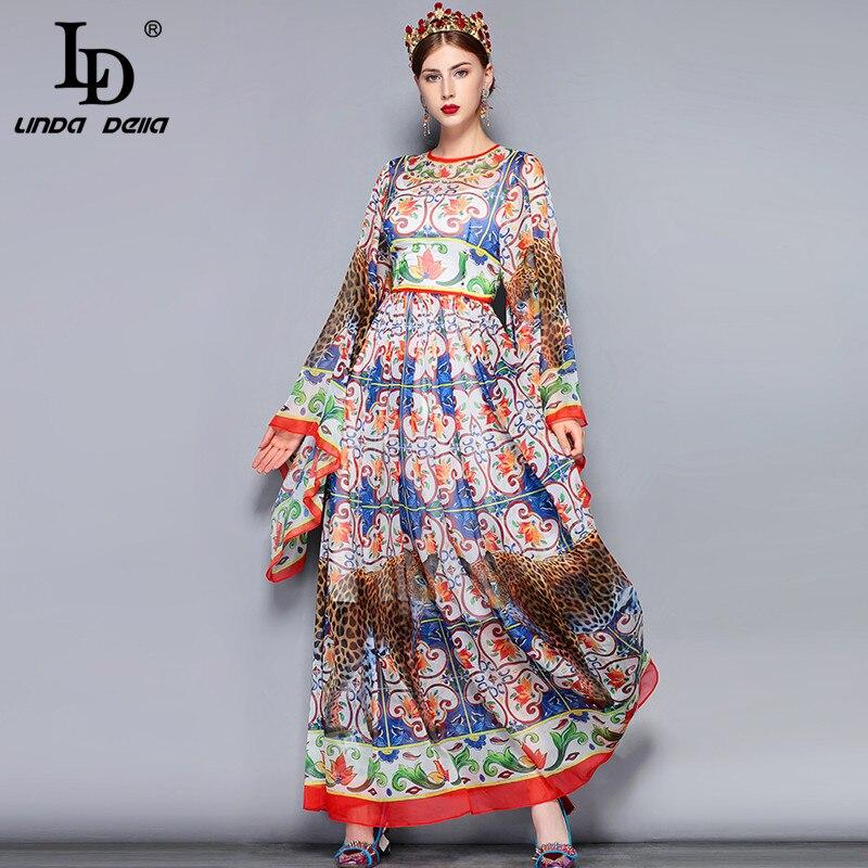 LD リンダ · デッラ · ファッション滑走路マキシドレス 5XL プラスサイズ女性のルーズフレア柄花柄ヴィンテージロングドレス  グループ上の レディース衣服 からの ドレス の中 1