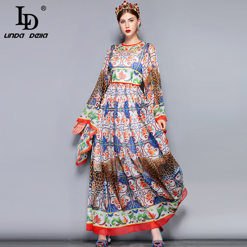 US $42.69 30% OFF|LD LINDA DELLA Fashion Runway Maxi Dress 5XL Plus size  Women\'s Loose Flare Sleeve Animal Pattern Floral Print Vintage Long  Dress-in ...