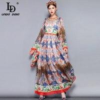LD LINDA DELLA Fashion Runway Maxi Dress 5XL Plus size Women's Loose Flare Sleeve Animal Pattern Floral Print Vintage Long Dress