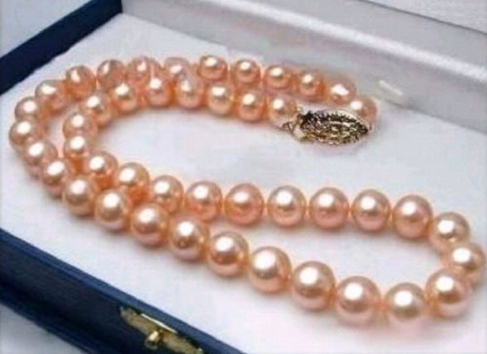 10-11MM REAL SOUTH SEA PINK PEARL NECKLACE 18 INCH10-11MM REAL SOUTH SEA PINK PEARL NECKLACE 18 INCH