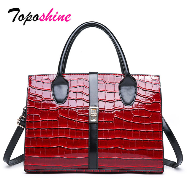 Toposhine Stone Pattern Ladies Handbag 2019 New Women Bags High Quality Fashion  Female Shoulder Bags Black Red Messenger Bags