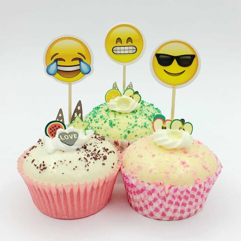 24pcs Cartoon Emoji Smiley Cupcake Topper Pick Children Birthday Party Cake Decoration Supplies Cry Smile Face