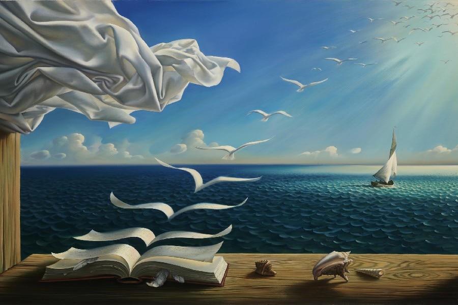 digital fantasy art nature painting sunlight books birds
