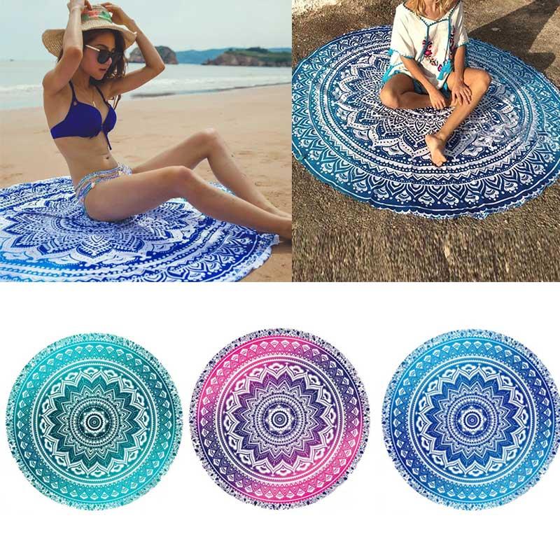 'The Best' Mandala Round Tapestry Summer Beach Picnic Throw Rug Blanket Bohemia Mats 889