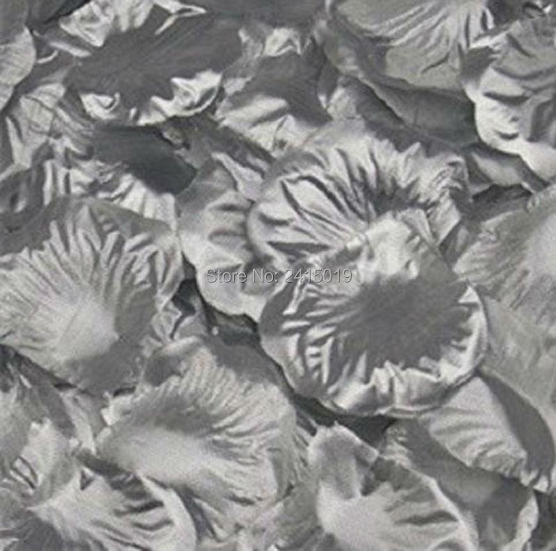 1000 SILVER silk rose petals wedding party favors NEW!