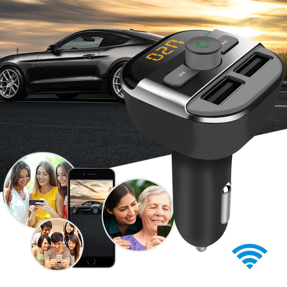Vodool 1 шт. Bluetooth гарнитура для авто fm-передатчик MP3-плееры со светодиодной Dual USB 3.4a Быстрый Зарядное устройство Напряжение Дисплей Micro SD TF