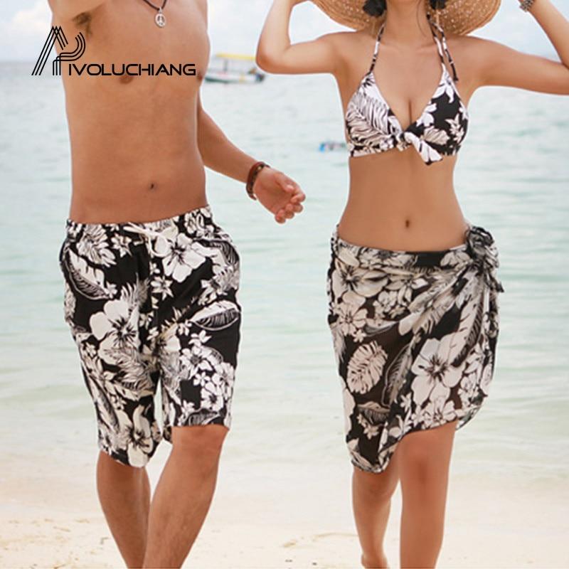 2018 New Black White Flower Couple Three-piece Split Bikini Phi Yarn Swimwear Sexy Biquini Suit Man Beach Shorts Lovers Swimsuit 可愛い 水着 カップル