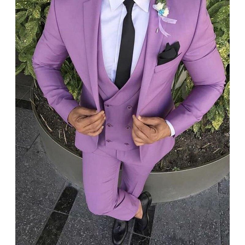High Quality Purple Men Suit 3Pieces(Jacket+Pant+Vest+Tie) Fashion For Wedding Prom Masculino Groom Trajes De Hombre Blazer
