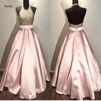 Розового цвета Кружево блестками Бисер Холтер индивидуальный заказ бальное платье Формальное длинное Вечерние платья для Свадебная вечер