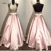 Rosa Pink Lace Lantejoulas Beading Halter Custom Made vestido de Baile Formal de Longo Vestidos de Noite Para A Festa de Casamento do baile de Finalistas