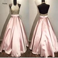 Rose Pink Lace Sequined Beading Halter Custom Made Ball Gown Formal Long Evening Dresses For Wedding Party Prom