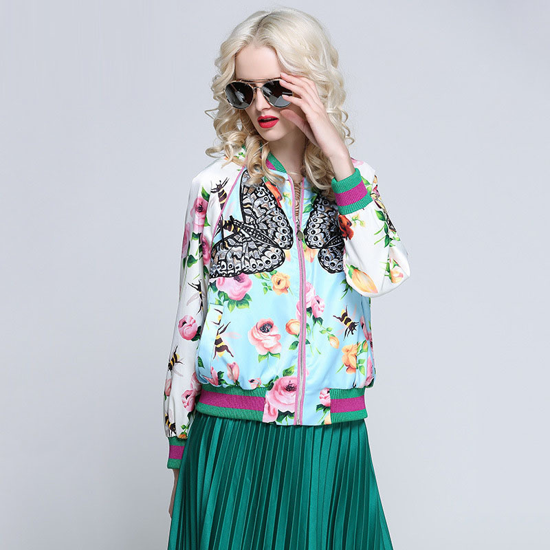 Runway Streetwear Spring Autumn Embroidery Butterfly Flower Woman Loose Jackets Embroide ...