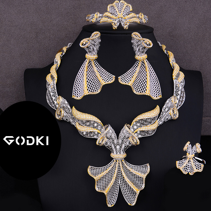 GODKI Trendy Luxury 4PCS Bowknot Nigeria Statement Jewelry Set For Women Wedding Full Cubic Zircon Dubai