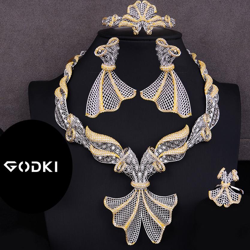 GODKI Trendy Luxury 4PCS Bowknot Nigeria Statement Jewelry Set For Women Wedding Full Cubic Zircon Dubai