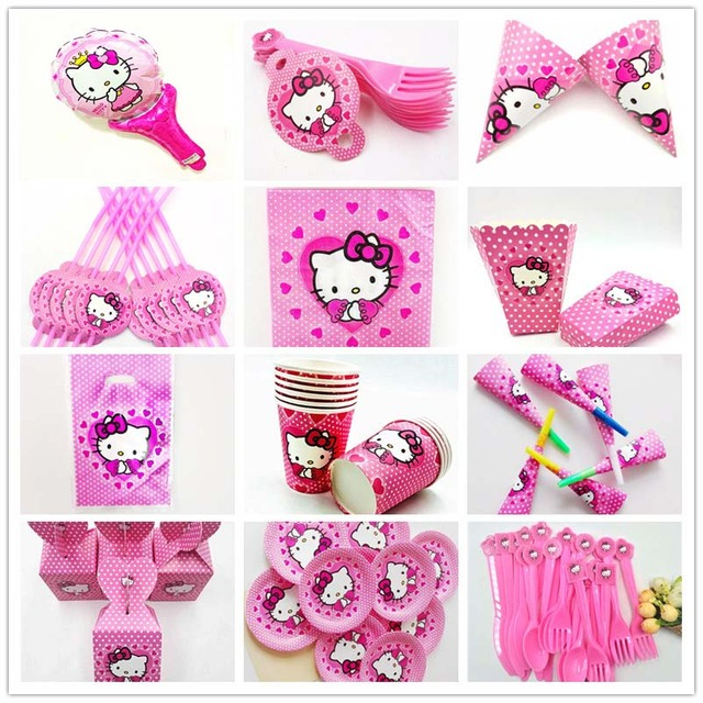 2abc9970d Hello Kitty Kids Birthday Party Decoration Set Party Supplies Straw Knives  Forks Spoons Napkins Baby birthday party decorations