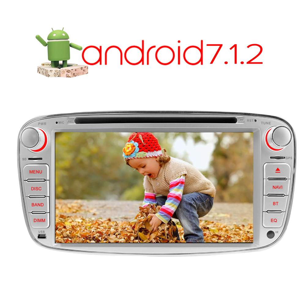 A-Sure Android 7.1 2 Din 1024*600 Car DVD for FORD FOCUS MONDEO S-MAX C-MAX Kuga Galaxy With WIFI Radio GPS DAB+ OBD BT 4G DVD