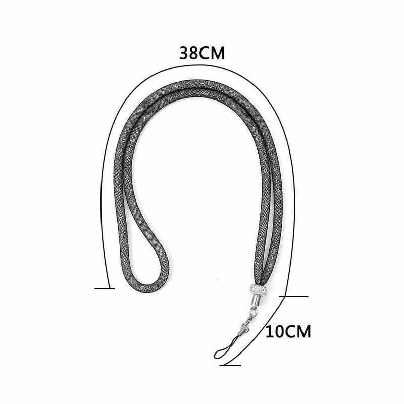 Hsmeilleur בלינג נשים קריסטל צוואר רצועת שרוך שרשרת עבור טלפון מקרה Keychain מזהה שם תגי USB דיסק און קי מיתרי בעל