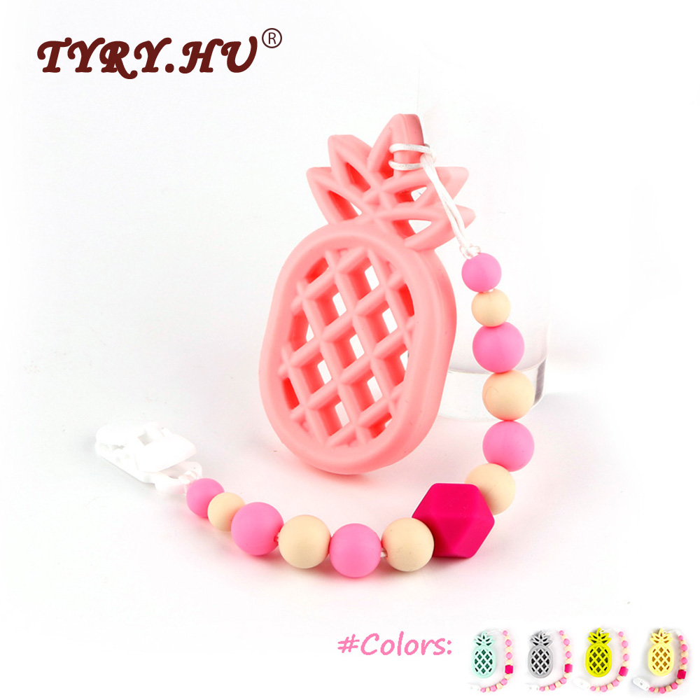 TYRY.HU 1Pc Hand Made Baby Pacifier Chain Holder BPA Free Silicone Pineapple Baby Teether Necklace Pendent DIY Attache Sucette