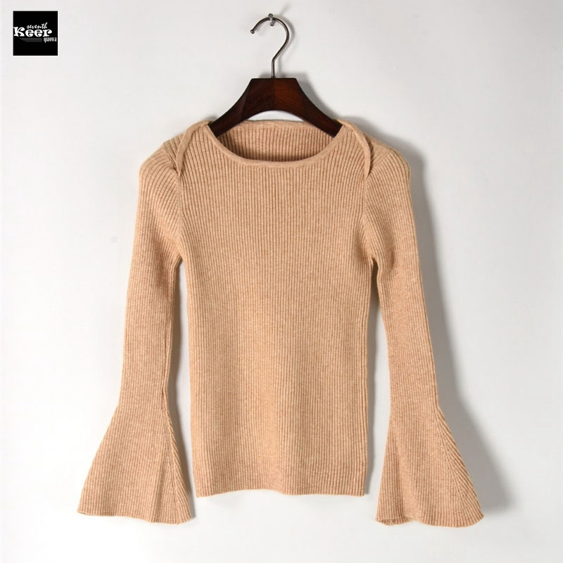 2018 Autumn New Sweater Female Flare Sleeve Elastic Pullovers Stripe Basic Knitted Sweaters Pullover Runway Designer Tops Jumper