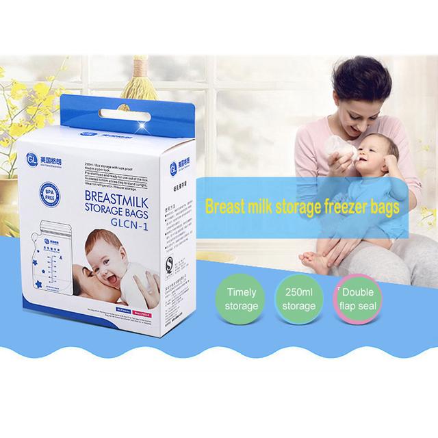 GL 120pcs 250ML Freezer Bags Big Breast Milk Storage Bags Baby Food Storage Breast Milk Bags Baby Breastmilk Feeding Safe Mother