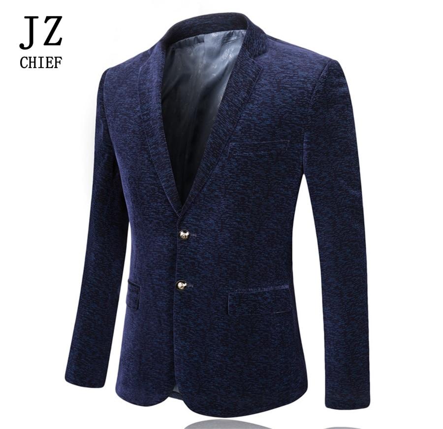 JZ CHIEF Mens Red Blazer Floral Blazer Velvet Corduroy Jacket Slim Fit Coat Spring Suit Wedding Stage Costumes Men Casual Blue