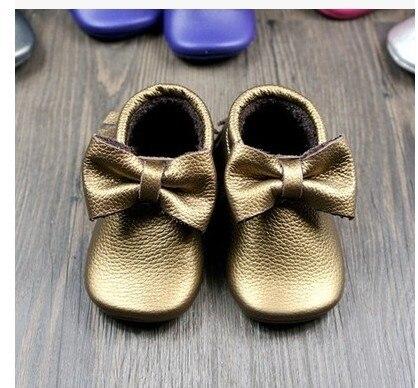 fringe bow New Genuine Leather Newborn Baby Infant Toddler Moccasins Soft Moccs Babe Soft Soled Non-slip Prewalker Shoes