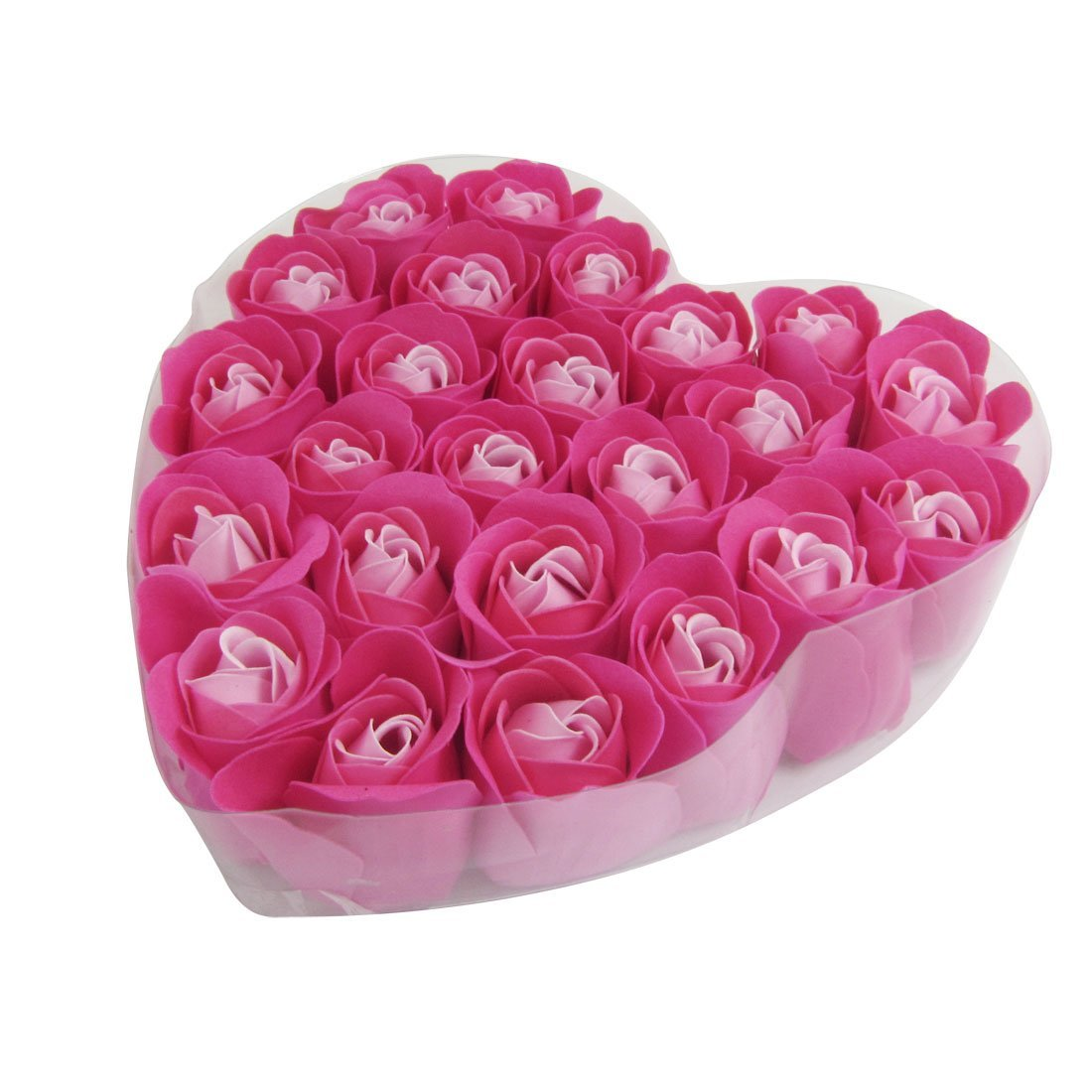 New 24 Pcs Red Rose Scented Bath Soap Rose Petal In Heart Box