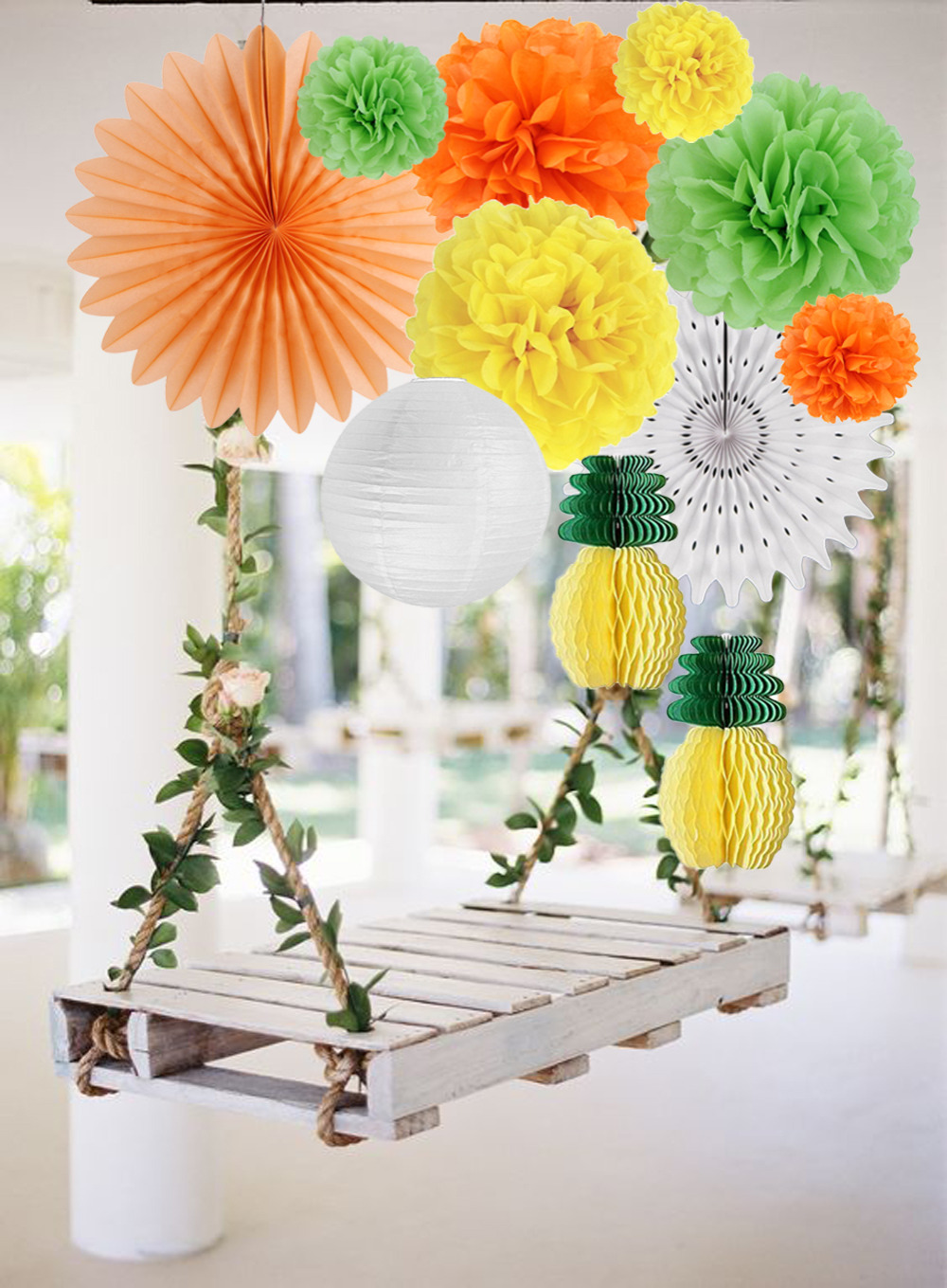 Summer Party Decoration Set Honeycomb Pineapple Centerpiece Tissue ...