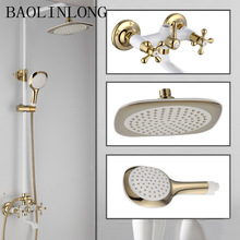 Antiquing Brass + ABS bath Bathroom shower faucets mixer bathtub tap rainfall shower head wall torneira head shower golden rainfall shower faucets set brass wall mounted shower with hand shower mixer for bathroom