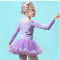 girl leotard autumn Children Girls Cute Lace lace Long Sleeve Ballet Tutu Gymnastics Leotard Skirt Tutu Dance Dress