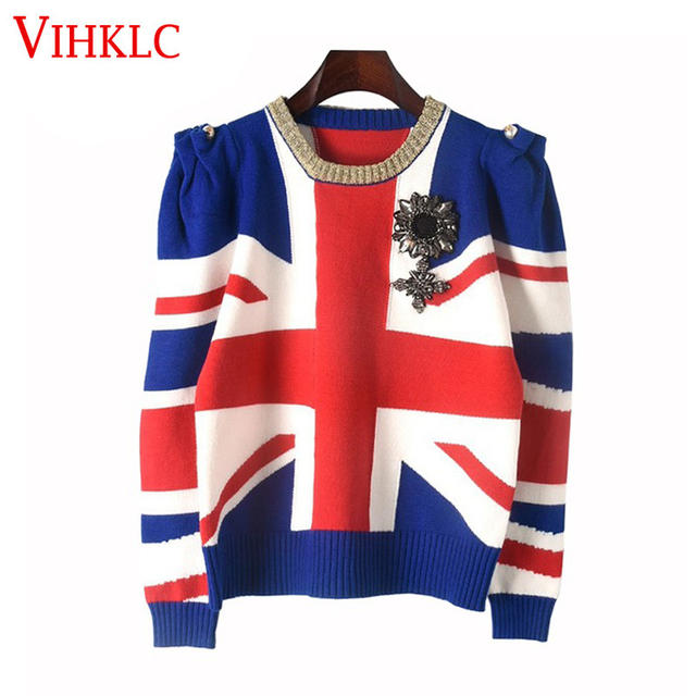size 40 96a58 c50d3 Runway Designer Pullover 2017 New Winter Sweater Women British Flag  Jacquard Jersey Casual Shrugged Badge Knit Jumper Tops B90-in Pullovers  from ...