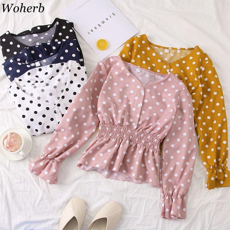 Woherb Summer Sweet Polka Dot Print Womens Blouse 2019 Korean Elegant V neck Ruffle Shirt Slim Waist Crop Short Blusas 22045-in Blouses & Shirts from Women's Clothing on AliExpress - 11.11_Double 11_Singles' Day 1