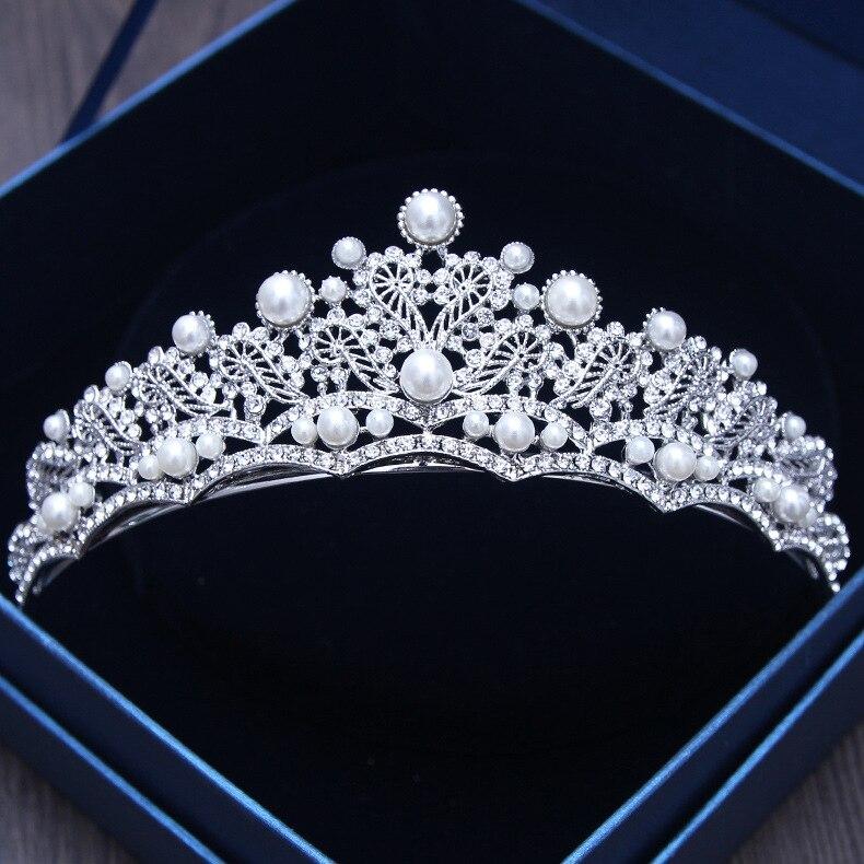 Vintage Baroque Queen Tiara Rhinestone Crown Wedding Bridal Headband Hairband