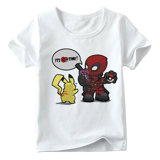 27f043ef6ed Children Deadpool Pokemon GO Time Print Funny T shirt Boys and Girls Summer  White Tops Kids Cartoon T-shirt