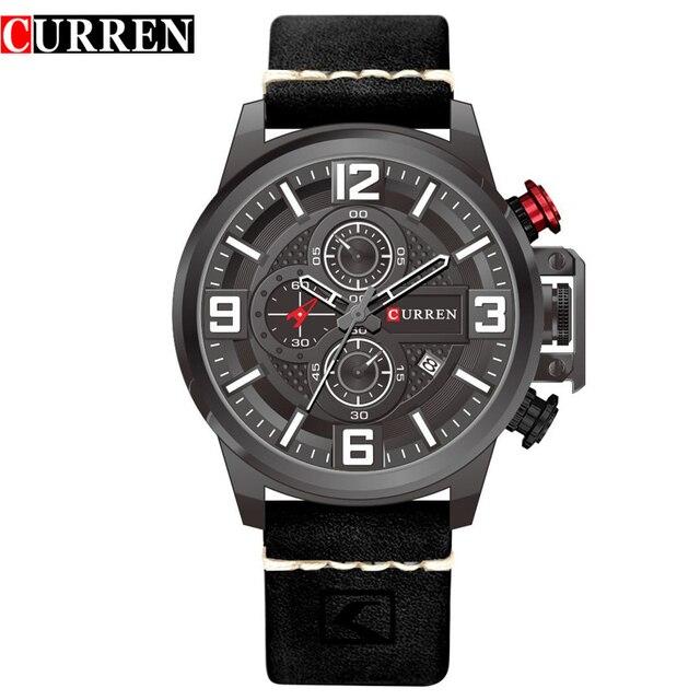 Curren 8278 спортивные часы лучший бренд Роскошные Дата Кожаный ремешок хронограф кварцевые наручные Часы Relogio