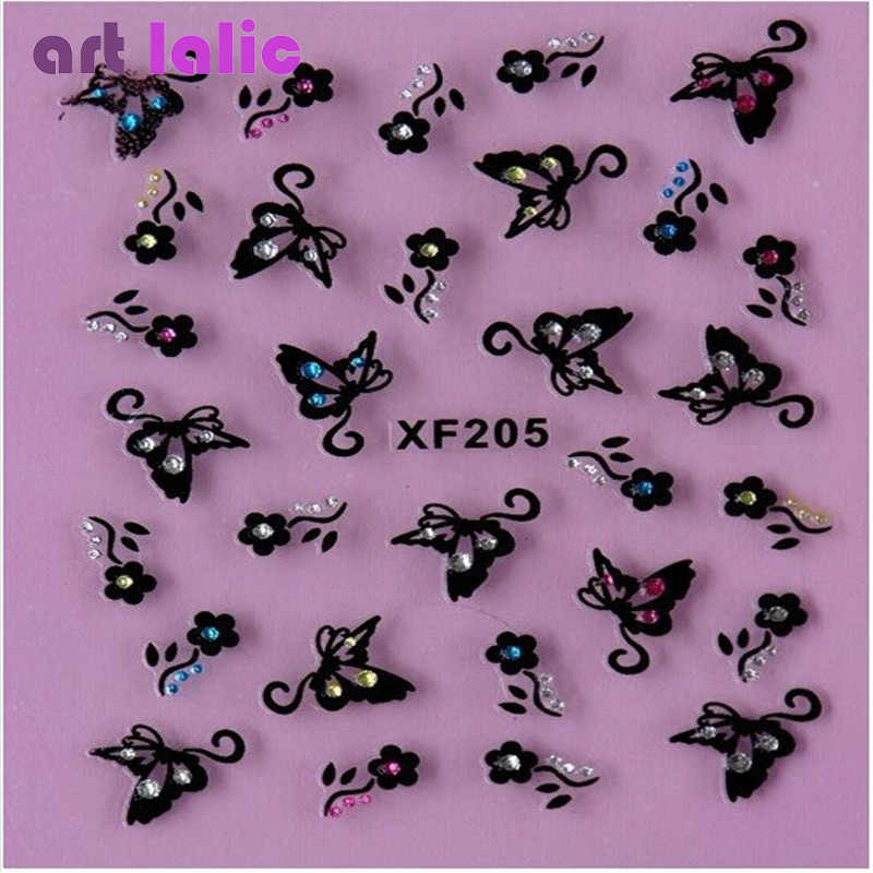 1 Sheet Fashion 3d Nail Art Sticker Nails Decal Butterfly and Flower with Rhinestones Charms DIY Decoration Manicure Tools